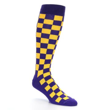 Image of Purple Yellow Men's Over-the-Calf Dress Socks (side-1-27)
