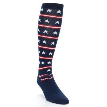 Image of Patriotic Stars Stripes Men's Over-the-Calf Dress Socks (side-1-front-02)