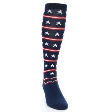 Image of Patriotic Stars Stripes Men's Over-the-Calf Dress Socks (side-1-front-03)