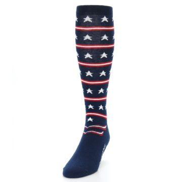 Image of Patriotic Stars Stripes Men's Over-the-Calf Dress Socks (side-2-front-06)