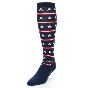 Image of Patriotic Stars Stripes Men's Over-the-Calf Dress Socks (side-2-front-07)
