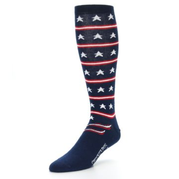 Image of Patriotic Stars Stripes Men's Over-the-Calf Dress Socks (side-2-front-08)