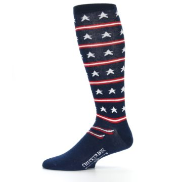 Image of Patriotic Stars Stripes Men's Over-the-Calf Dress Socks (side-2-11)
