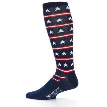 Image of Patriotic Stars Stripes Men's Over-the-Calf Dress Socks (side-2-12)