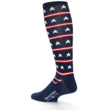 Image of Patriotic Stars Stripes Men's Over-the-Calf Dress Socks (side-2-back-14)