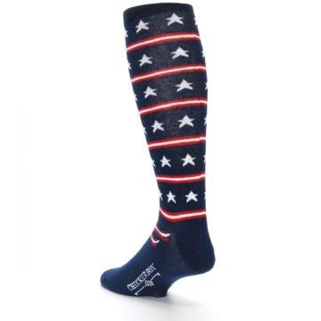 Image of Patriotic Stars Stripes Men's Over-the-Calf Dress Socks (side-2-back-15)