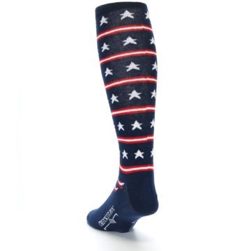 Image of Patriotic Stars Stripes Men's Over-the-Calf Dress Socks (side-2-back-16)