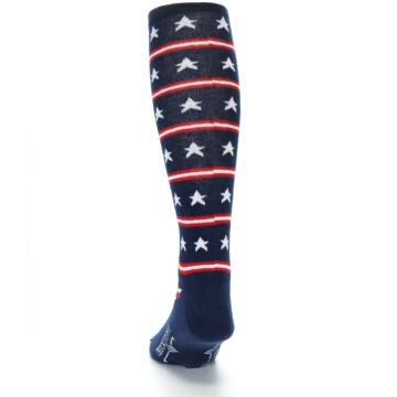 Image of Patriotic Stars Stripes Men's Over-the-Calf Dress Socks (back-17)
