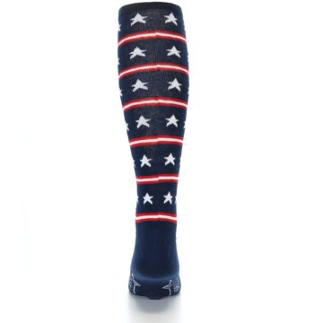 Image of Patriotic Stars Stripes Men's Over-the-Calf Dress Socks (back-18)