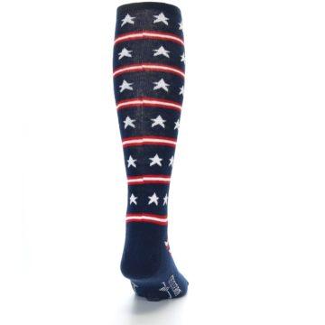 Image of Patriotic Stars Stripes Men's Over-the-Calf Dress Socks (back-19)