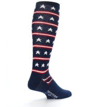 Image of Patriotic Stars Stripes Men's Over-the-Calf Dress Socks (side-1-back-22)