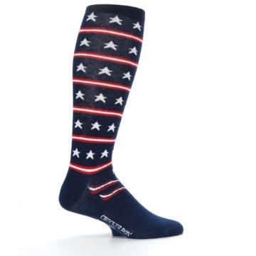 Image of Patriotic Stars Stripes Men's Over-the-Calf Dress Socks (side-1-24)