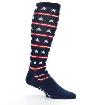 Image of Patriotic Stars Stripes Men's Over-the-Calf Dress Socks (side-1-25)