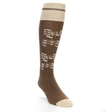 Image of Brown Music Men's Over-the-Calf Dress Socks (side-1-front-02)