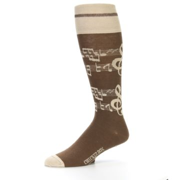 Image of Brown Music Men's Over-the-Calf Dress Socks (side-2-10)
