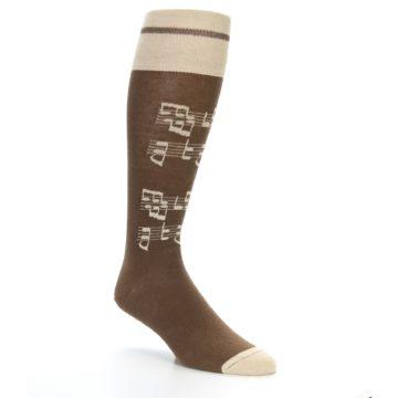 Image of Brown Music Men's Over-the-Calf Dress Socks (side-1-27)