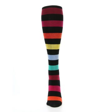 Image of Black Red Multicolor Stripes Women's Knee High Socks (front-05)