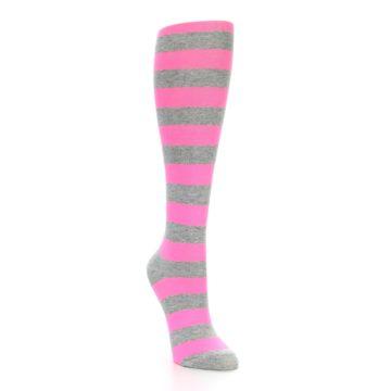 Image of Pink Grey Stripes Women's Knee High Socks (side-1-front-02)