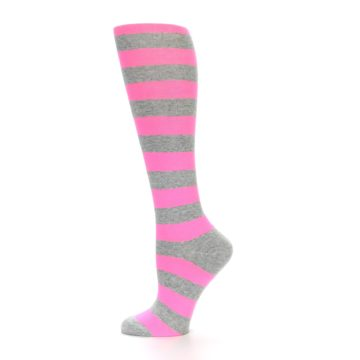 Image of Pink Grey Stripes Women's Knee High Socks (side-2-12)