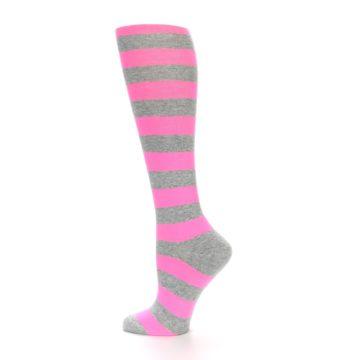 Image of Pink Grey Stripes Women's Knee High Socks (side-2-13)