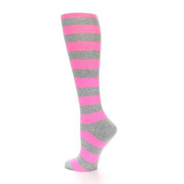 Image of Pink Grey Stripes Women's Knee High Socks (side-2-back-14)