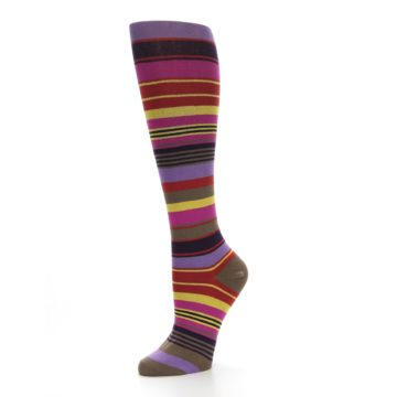 Image of Purple Yellow Multicolor Stripes Women's Knee High Socks (side-2-09)