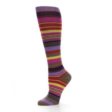 Image of Purple Yellow Multicolor Stripes Women's Knee High Socks (side-2-10)