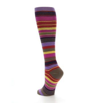 Image of Purple Yellow Multicolor Stripes Women's Knee High Socks (side-2-back-14)