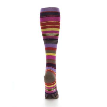 Image of Purple Yellow Multicolor Stripes Women's Knee High Socks (back-18)