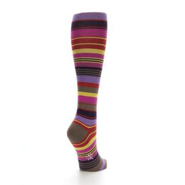 Image of Purple Yellow Multicolor Stripes Women's Knee High Socks (side-1-back-20)