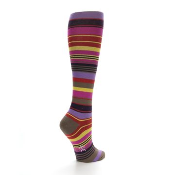 Image of Purple Yellow Multicolor Stripes Women's Knee High Socks (side-1-back-21)