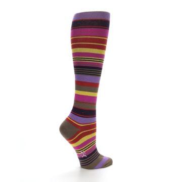 Image of Purple Yellow Multicolor Stripes Women's Knee High Socks (side-1-back-22)