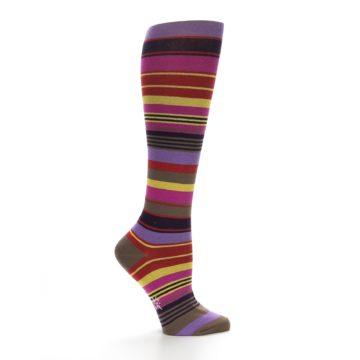 Image of Purple Yellow Multicolor Stripes Women's Knee High Socks (side-1-24)