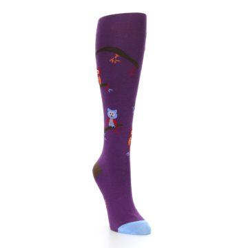 Image of Purple Owls Women's Knee High Socks (side-1-front-02)
