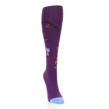 Image of Purple Owls Women's Knee High Socks (side-1-front-03)