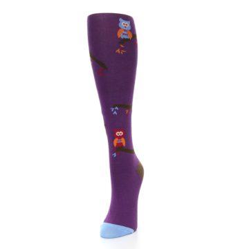 Image of Purple Owls Women's Knee High Socks (side-2-front-07)