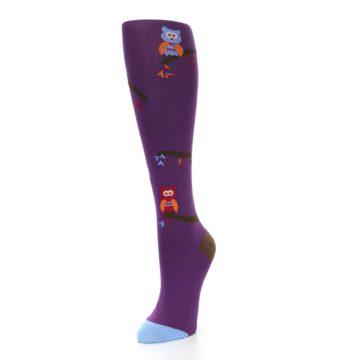 Image of Purple Owls Women's Knee High Socks (side-2-front-08)