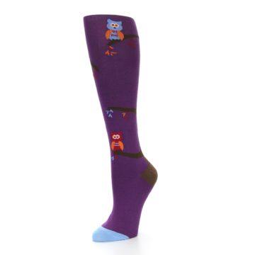 Image of Purple Owls Women's Knee High Socks (side-2-09)