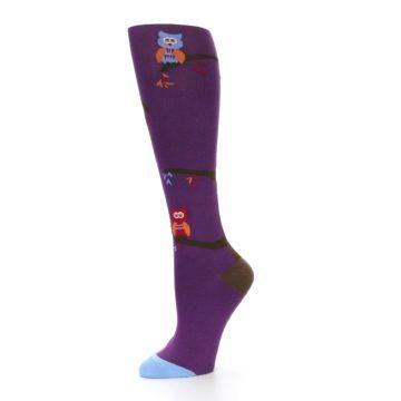 Image of Purple Owls Women's Knee High Socks (side-2-10)