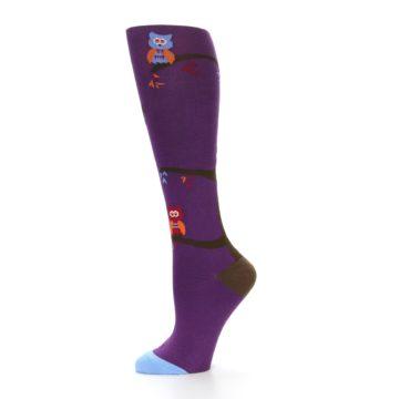 Image of Purple Owls Women's Knee High Socks (side-2-11)