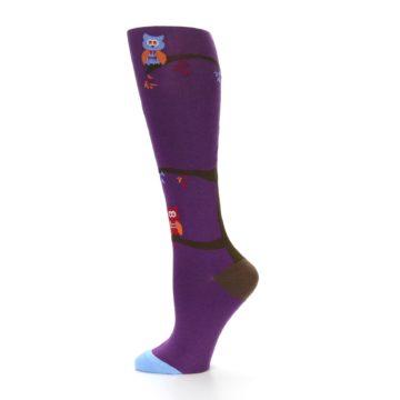 Image of Purple Owls Women's Knee High Socks (side-2-12)
