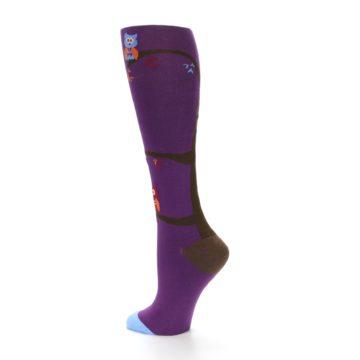 Image of Purple Owls Women's Knee High Socks (side-2-back-14)