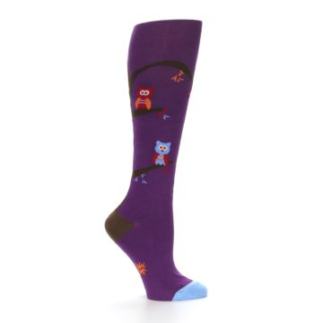 Image of Purple Owls Women's Knee High Socks (side-1-25)