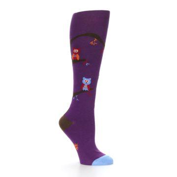 Image of Purple Owls Women's Knee High Socks (side-1-26)