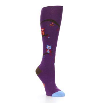 Image of Purple Owls Women's Knee High Socks (side-1-27)