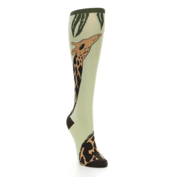 Image of Tan Brown Giraffe Women's Knee High Socks (side-1-front-02)