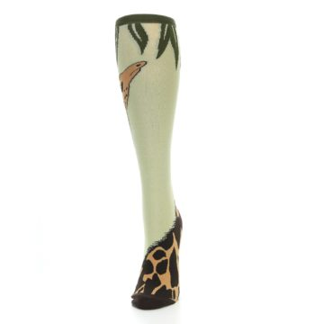 Image of Tan Brown Giraffe Women's Knee High Socks (side-2-front-06)