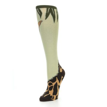 Image of Tan Brown Giraffe Women's Knee High Socks (side-2-front-08)