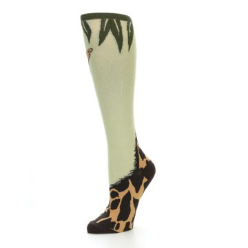 Image of Tan Brown Giraffe Women's Knee High Socks (side-2-09)