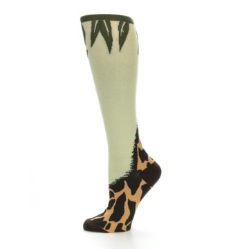 Image of Tan Brown Giraffe Women's Knee High Socks (side-2-11)